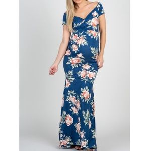 Pink blush floral maxi dress fit flare maternity